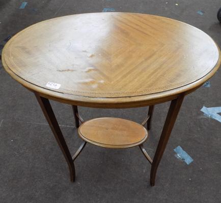 Oval two-tier inlaid table