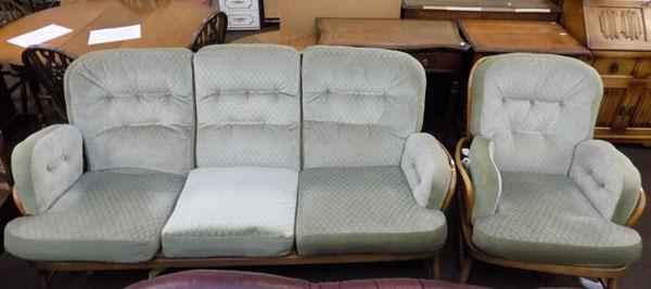 Ercol 3 seater settee & chair