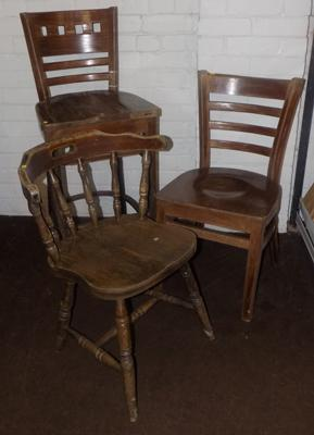 Three mixed, antique type chairs
