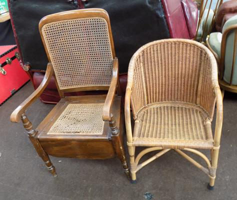 Rattan chair + wicker tub chair