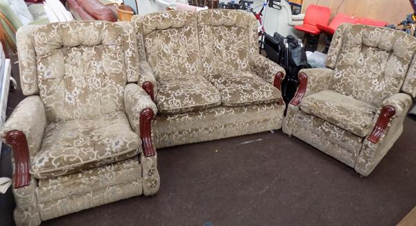 Three piece sofa - 2 reclining chairs