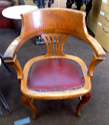 Vintage captain's / office chair - red leather seat