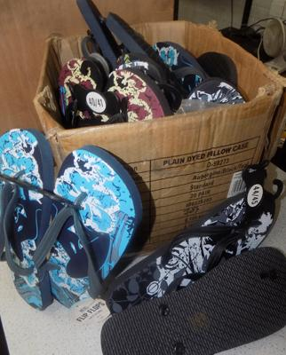 Box of men's flipflops