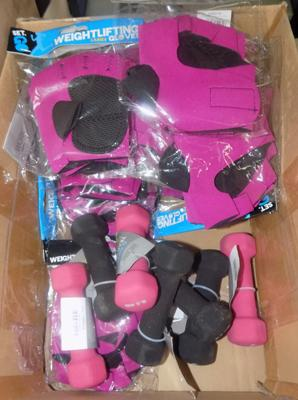 Ladies weight lifting gloves and 0.5 kg weights