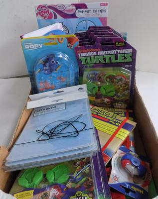 Box of items, incl. note books, kids toys and more