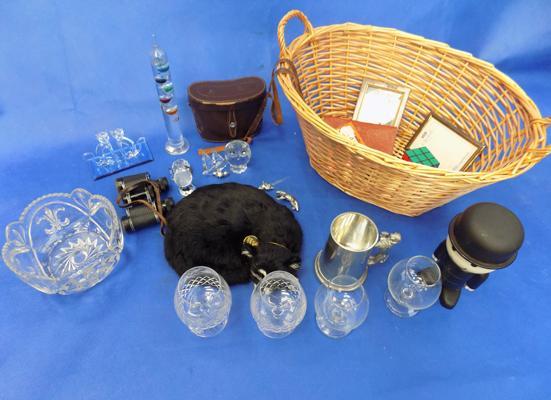 Basket of mixed collectables