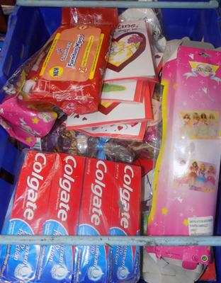 Full tray of mixed items - toothpaste, Valentine cards etc...