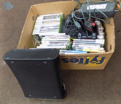 Box of consoles & games, W/O