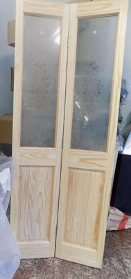 Pine & glass bi-folding door with fittings
