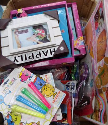 Box of mixed toys and games