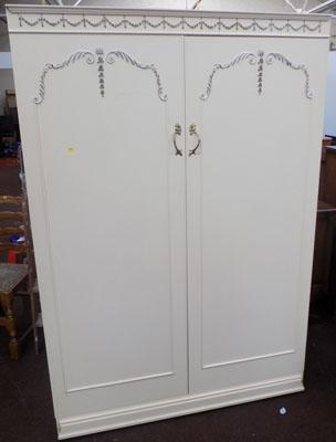 Double wardrobe with gold scroll detail