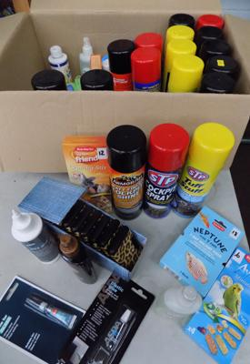 Box of assorted new items inc sprays