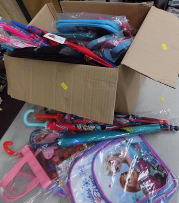 Box of kids bags & brollies