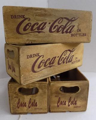 4x Small Coca Cola wooden crates