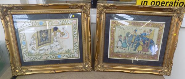 "Pair of framed silk paintings (15"" x 18"")"