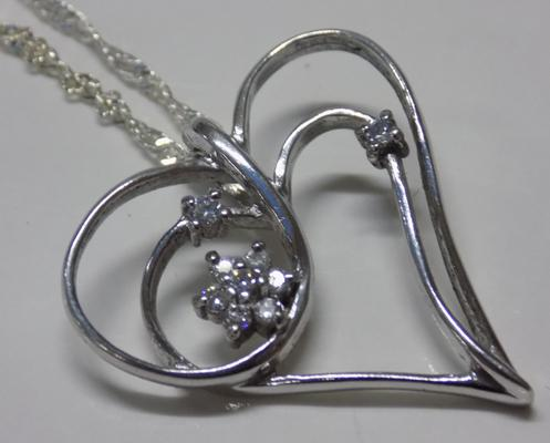 Large silver double heart necklace