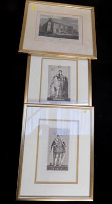 3x Lithographs (James I, George IV & Colchester Castle)