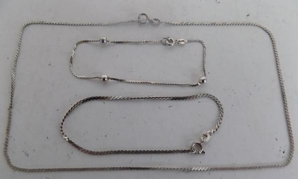 "3x Silver chains 61/2"", 7"" & 143/4"" (possibly christening)"