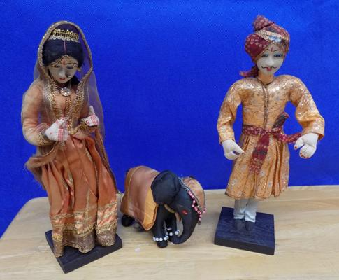 Two hand made Indian dolls + elephant