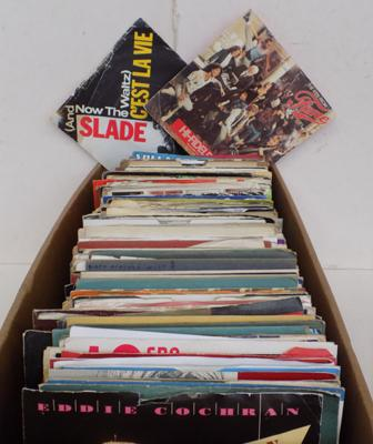Box of singles inc Eddie Cochran, Slade