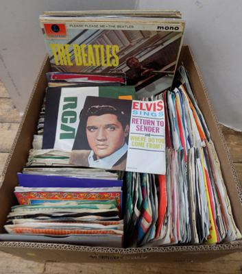 "Box of LP's & 7"" singles-Beatles, Elvis, 50's-80's"