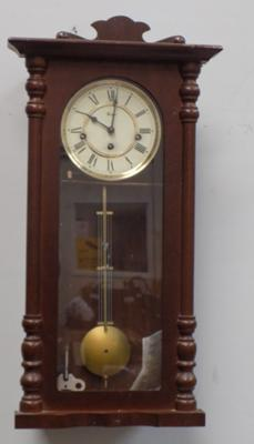 Vintage Woodford cased clock with pendulum & key