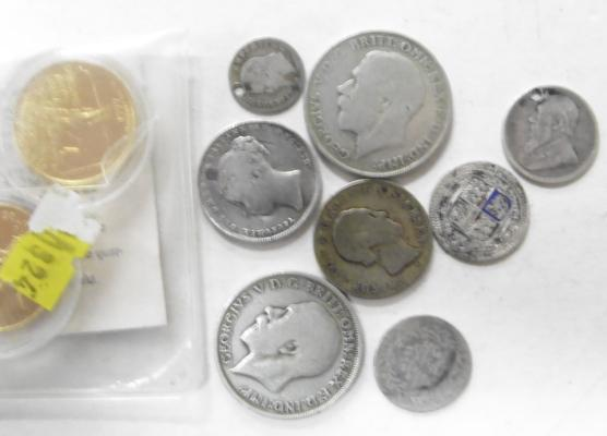 Selection of silver coins & 2 gold plated State quarters
