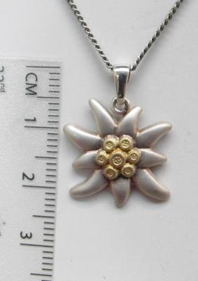 Silver necklace, edelweiss pendant