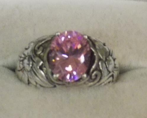 Silver and pink stone ring