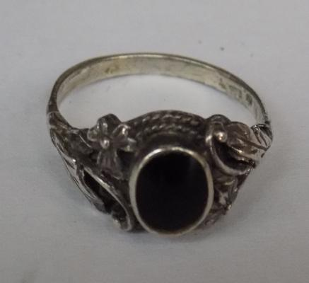 Silver and black stone ring