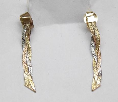 9ct 3 coloured gold drop earrings gold plated