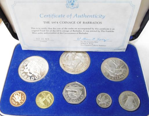 1974 Barbados proof set some silver