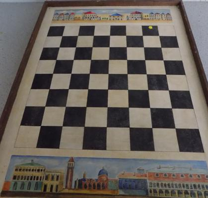 Vintage slate draughts board tray