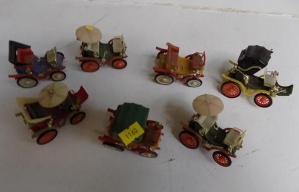 Collection of 7 vintage KMC 1940's Trojan cars - No.s 1-7
