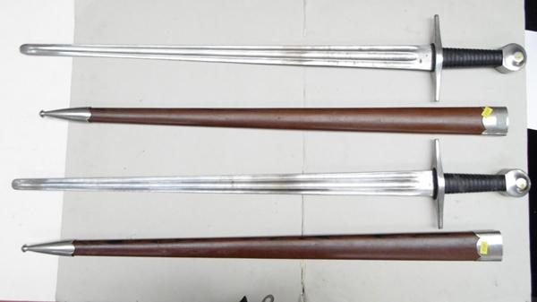 "2x Knights re enactment swords 39.5"" long, 30"" blade"