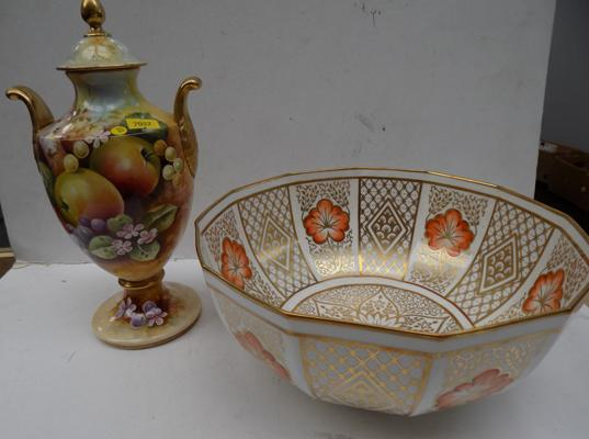 "Caverswall China hand painted fruit vase (approx 9"") & Bowl in Romany pattern"