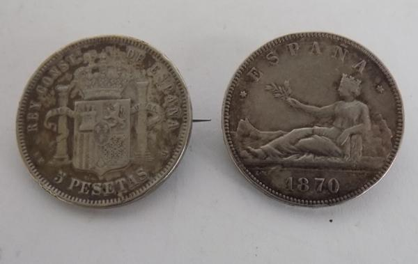 Two silver coin brooches (Spanish) 1873/1870