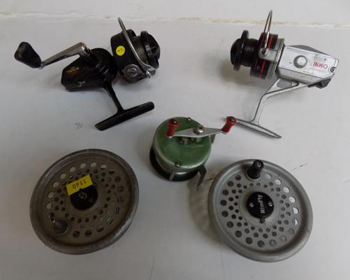 Collection of three vintage fishing reels + 2 spools