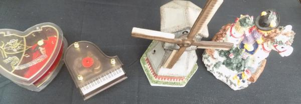 Selection of four music boxes