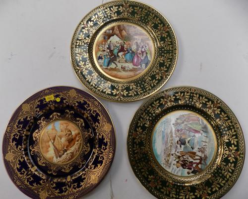 Caverswell china hand painted ship plate & 2x Dickens Christmas plates