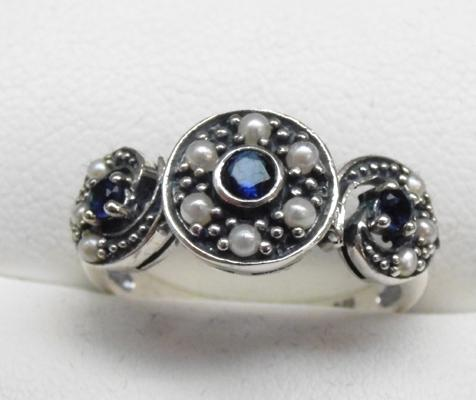 925 Silver vintage style sapphire & seed pearl ring size L