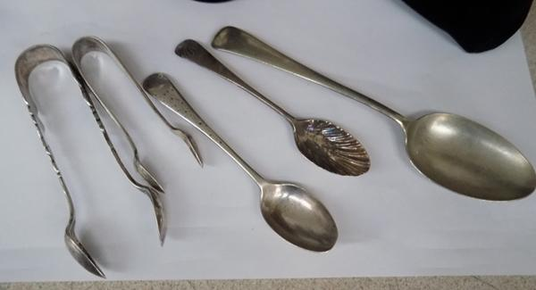 2 silver spoons, 2 tongs and military spoon