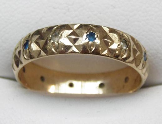 9ct Gold ring set with sapphire size Q1/2
