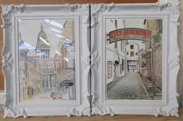 2x Ornate framed pictures of Leeds streets-signed Gilmour