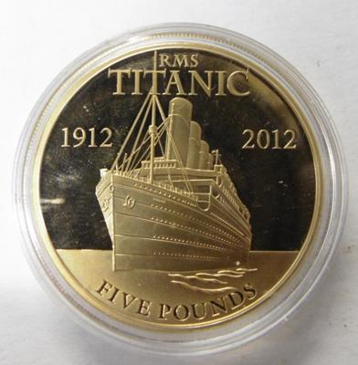 Titanic £5 coin-Jersey gold plated proof