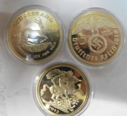 3x Gold plated proof coins