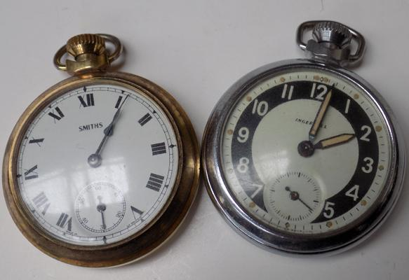 2x Vintage pocket watches-Smiths & Ingersoll w/o