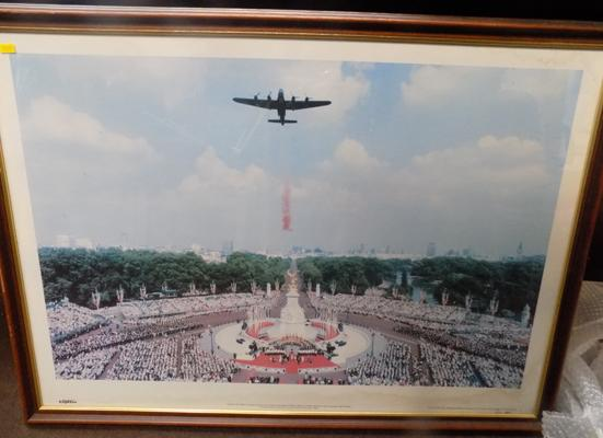 Picture of Lancaster Bomber dropping poppies over Buckingham Palace to commemorate 50th anniversary of VJ Day
