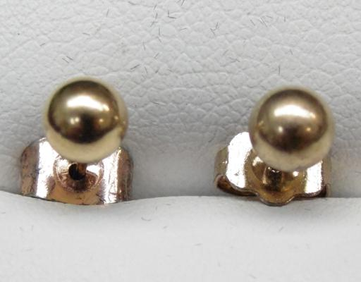 Pair of 9ct gold ball studs