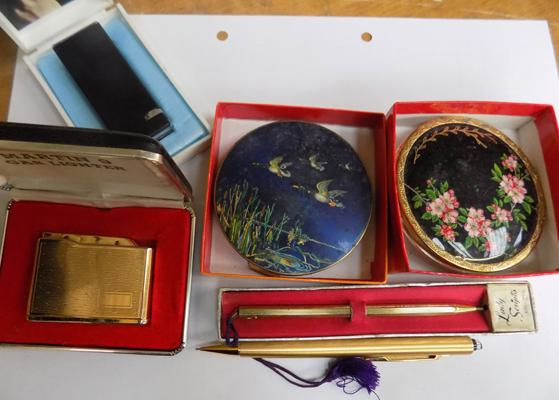 Selection of vintage compacts, lighters & pens